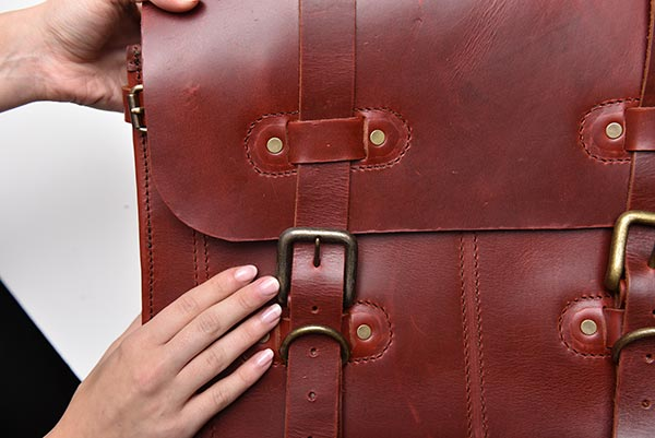 leather briefcase close up