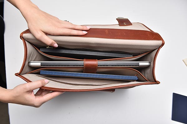 leather briefcase inside