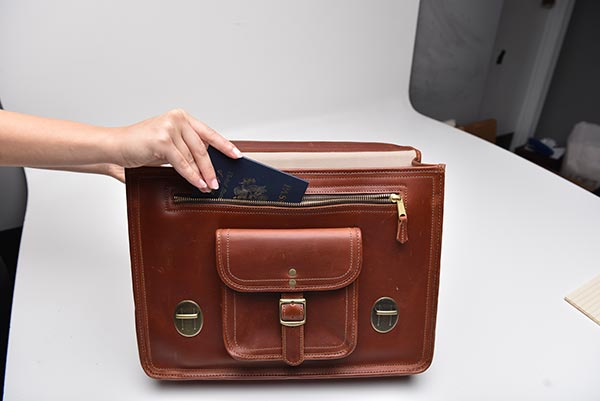 leather briefcase front pocket