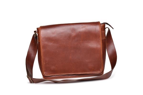 leather messenger flap bag