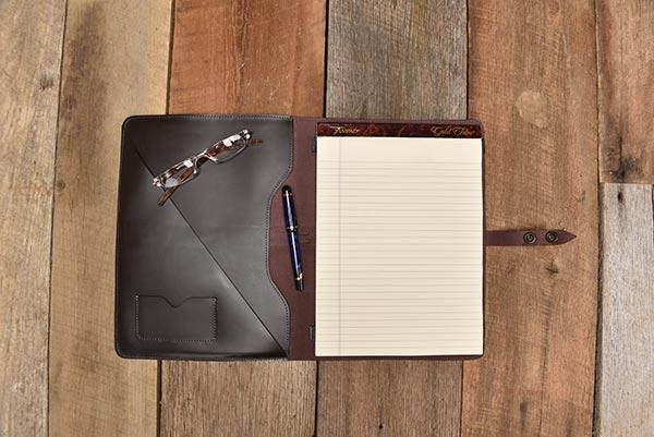 leather portfolio open